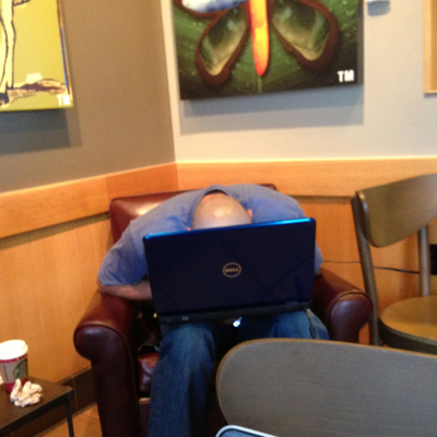 Feel kinda bad for this guy. He couldn't stay awake in Starbucks.